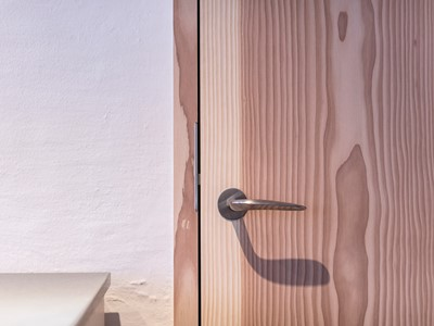 Trædør med dørgreb af stål. | Wooden door with door handle made from steel.